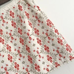 Anthropologie Maeve Blomma Cross-Stiched Skirt